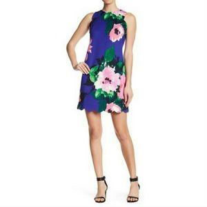 Vince Camuto Scalloped Floral Dress
